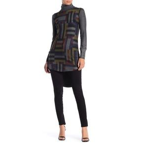 Go Couture Charcoal Colorful Geometric Tunic Top